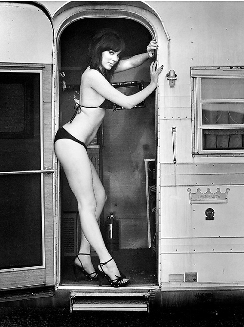 pin up photography temecula classic black & white film photography of pin up bikini girl with a vintage airstream trailer
