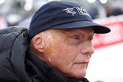 21.01.2011, Hahnenkamm, Kitzbuehel, AUT, FIS World Cup Ski Alpin, Men, Super G, im Bild  Formula 1 racing legend Nikki Lauda watching the 2011 Hahnenkamm Super Giant Slalom race (Super G)part of  Audi FIS World Cup races in Kitzbuhel Austria. EXPA Pictures © 2011, PhotoCredit: EXPA/ M. Gunn
