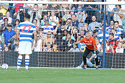 Jose Mourinho plays in goal for team ferdinand at the Game for Grenfell at Loftus Road London<br />