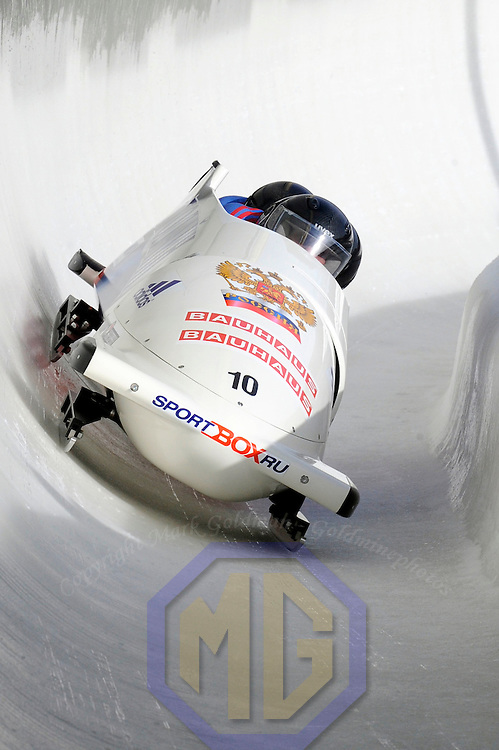 01 March 2009:    The Russia 2 bobsled driven by Dmitry Abramovitch with sidepushers Philipp Egorov and Alexey Seliverstov, and brakeman Petr Moiseev drives through turn 19 in the 3rd run at the 4-Man World Championships competition on March 1 at the Olympic Sports Complex in Lake Placid, NY.   The USA 1 bobsled driven by Steven Holcomb with sidepushers Justin Olsen and Steve Mesler, and brakeman Curtis Tomasevicz won the competition and the World Championship bringing the U.S. their first world championship since 1959 with a time of 3:36.61.   The Russian sled finished in 5th place.