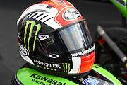 Race helmet of #1 Jonathan Rea / GBR / Kawasaki ZX-10R / Kawasaki Racing Team during the 2016 World Superbike Championship at Donington Park, Castle Donington, United Kingdom on 28 May 2016. Photo by Jon Hobley.