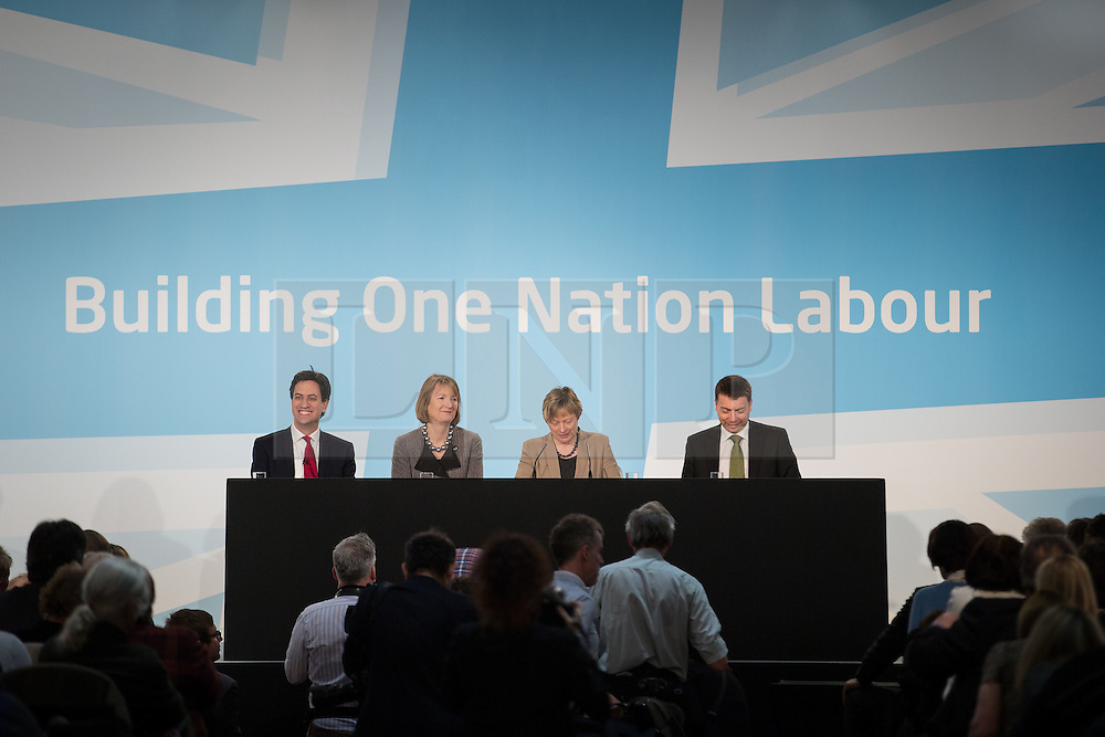 """© Licensed to London News Pictures . 01/03/2014 . London , UK . Ed Miliband , Harriet Harman , Angela Eagle and Iain McNicol on the stage . The Labour Party hold a one day """" Special Conference """" at the Excel Centre in London today (Saturday 1st March 2014) . Photo credit : Joel Goodman/LNP"""