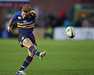 Ian Madigan of Leinster kicks a penalty during the European Rugby Champions Cup match at Twickenham Stoop , London<br /> Picture by Paul Terry/Focus Images Ltd +44 7545 642257<br /> 07/12/2014