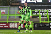 Forest Green Rovers Jack Aitchison(29), on loan from Celtic scores a goal 3-0 and celebrates with Forest Green Rovers Aaron Collins(10) during the The FA Cup match between Forest Green Rovers and Billericay Town at the New Lawn, Forest Green, United Kingdom on 9 November 2019.