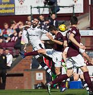 Dundee&rsquo;s Marcus Haber oujumps Hearts&rsquo; Alexandros Tziolis - Hearts v Dundee in the Ladbrokes Scottish Premiership at Tynecastle, Edinburgh, Photo: David Young<br /> <br />  - &copy; David Young - www.davidyoungphoto.co.uk - email: davidyoungphoto@gmail.com