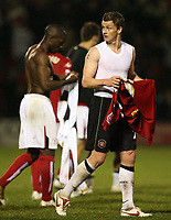 Photo: Rich Eaton.<br /> <br /> Crewe Alexander v Manchester United. Carling Cup. 25/10/2006. ole Gunnar Solskjaer swaps shirts after a 2-1 victory over Crewe