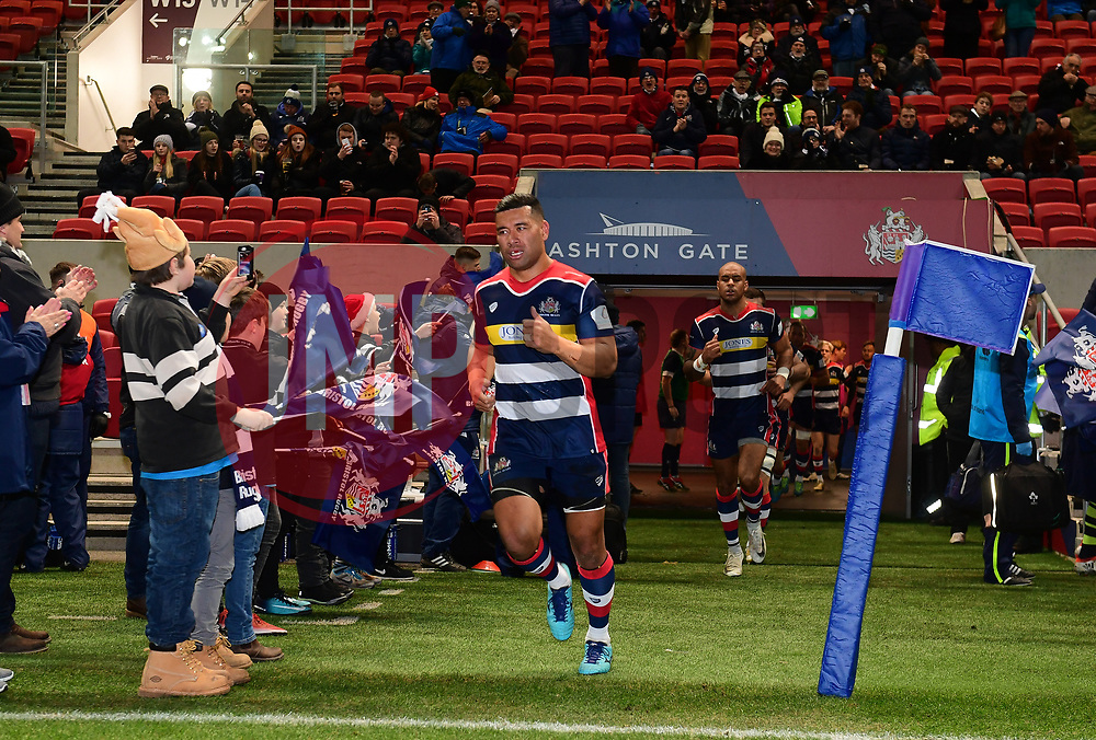 Siale Piutau of Bristol Rugby leads the team out  - Mandatory by-line: Alex Davidson/JMP - 08/12/2017 - RUGBY - Ashton Gate Stadium - Bristol, England - Bristol Rugby v Leinster 'A' - B&I Cup
