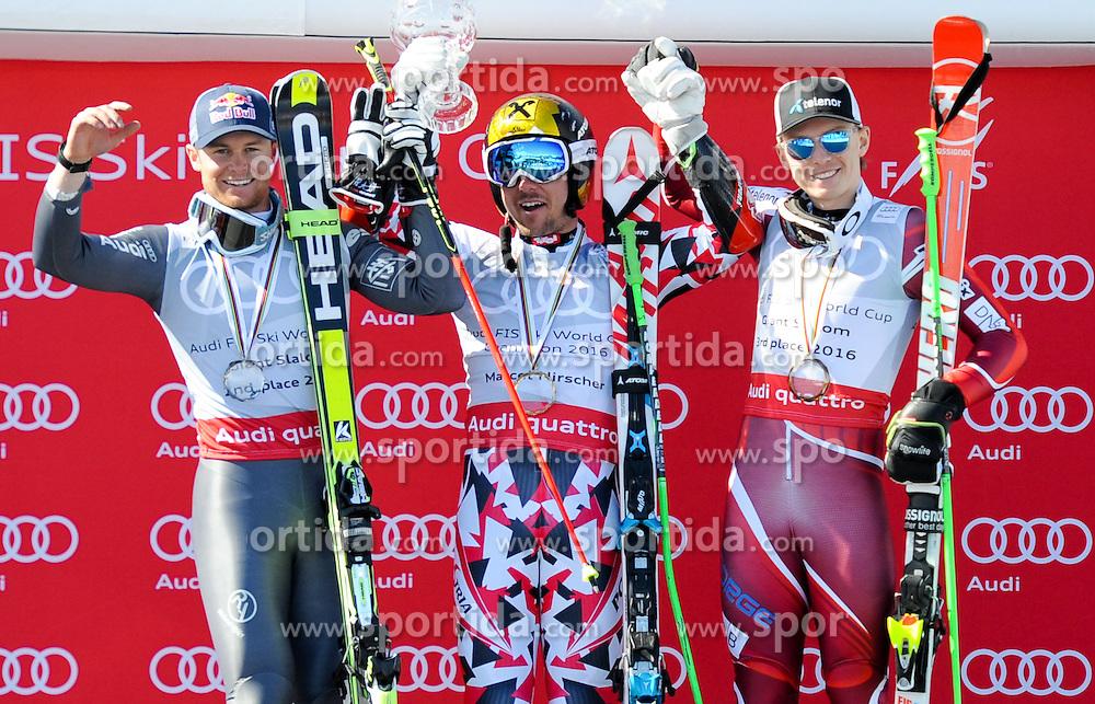 19.03.2016, Engiadina, St. Moritz, SUI, FIS Weltcup Ski Alpin, St. Moritz, Riesentorlauf, Herren, im Bild Alexis Pinturault (FRA) Sieger Kombi WC, Marcel Hirscher (AUT) Gesamtweltcup Sieger und RS WC SiegerHenrik Kristoffersen (NOR) Sieger WC SL // Alexis Pinturault of France ( Winner WC Kob)Marcel Hirscher of Austria (Winner Overall WC and Winner Giant Slalom WC)Henrik Kristoffersen of Norway (Winner Slalom WC) during men's Giant Slalom of St. Moritz Ski Alpine World Cup finals at the Engiadina in St. Moritz, Switzerland on 2016/03/19. EXPA Pictures © 2016, PhotoCredit: EXPA/ Erich Spiess