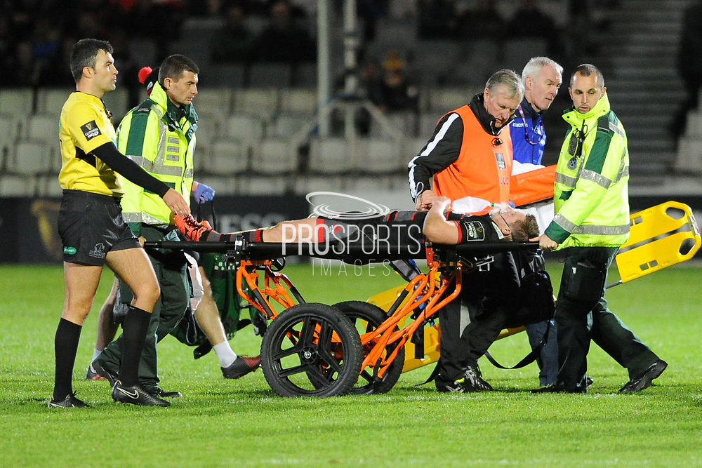 James Johnstone is stretchered off during the Guinness Pro 14 2017_18 match between Edinburgh Rugby and Zebre at Myreside Stadium, Edinburgh, Scotland on 6 October 2017. Photo by Kevin Murray.