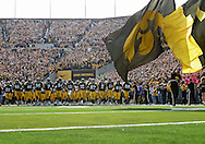 October 23 2010: The Iowa Hawkeyes take the field before the start of the first half of the NCAA football game between the Wisconsin Badgers and the Iowa Hawkeyes at Kinnick Stadium in Iowa City, Iowa on Saturday October 23, 2010. Wisconsin defeated Iowa 31-30.