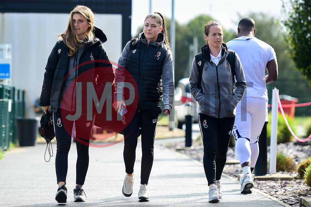 Vita Van Der Linden of Bristol City, Carla Humphrey of Bristol City, Olivia Chance of Bristol City arrives at SGS College Stoke Gifford Stadium prior to kick off - Mandatory by-line: Ryan Hiscott/JMP - 29/09/2019 - FOOTBALL - SGS College Stoke Gifford Stadium - Bristol, England - Bristol City Women v Chelsea Women - FA Women's Super League
