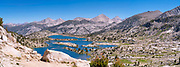 The view along the John Muir Trail - Marie Lake from Selden Pass; John Muir Wilderness, Sierra National Forest, Sierra Nevada Mountains, California, USA.