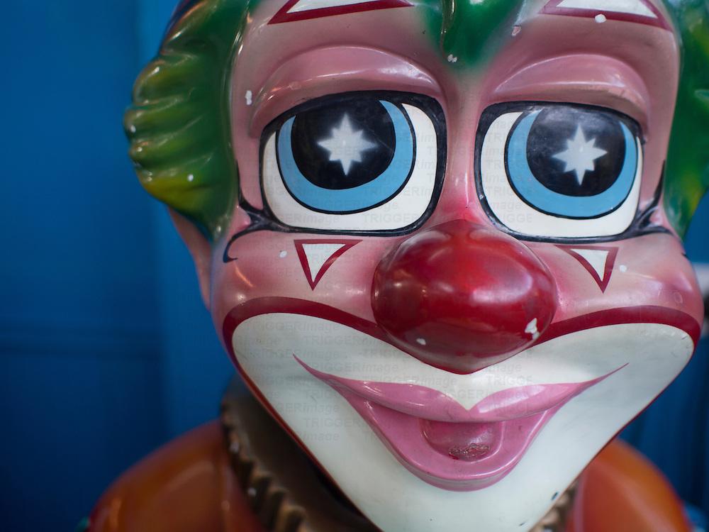 Close up of sad clowns face