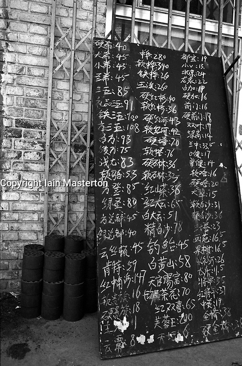 Menu board outside shop showing prices of different brands of cigarettes in a Beijing hutong