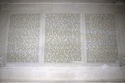THEMENBILD - Die Rede zum zweiten Amtsantritt von Abraham Lincoln ist in der Nordseite des Lincoln Memorials eingemeisselt. Reisebericht, aufgenommen am 12. Jannuar 2016 in Washington D.C. // The speech on the second inauguration of Abraham Lincoln is chiselled in the north side of the Lincoln Memorial. Travelogue, Recorded January 12, 2016 in Washington DC. EXPA Pictures © 2016, PhotoCredit: EXPA/ Eibner-Pressefoto/ Hundt<br /> <br /> *****ATTENTION - OUT of GER*****