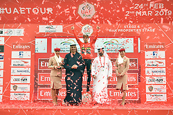 March 1, 2019 - Emirati Arabi Uniti - Foto LaPresse - Massimo Paolone.1 Marzo 2019 Emirati Arabi Uniti.Sport Ciclismo.UAE Tour 2019 - Tappa 6 - da Ajman a Jebel Jais - 180 km.Nella foto: Primoz Roglic (Team Jumbo - Visma) durante la premiazione..Photo LaPresse - Massimo Paolone.March 1, 2019 United Arab Emirates.Sport Cycling.UAE Tour 2019 - Stage 6 - Ajman to Jebel Jais - 111,8 miles.In the pic: Primoz Roglic (Team Jumbo - Visma) during the award ceremony (Credit Image: © Massimo Paolone/Lapresse via ZUMA Press)