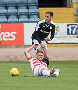 Dundee&rsquo;s Nick Ross beats Hamilton&rsquo;s Gramoz Kurtaj - Dundee v Hamilton Academical, Ladbrokes Scottish Premiership at Dens Park<br /> <br /> <br />  - &copy; David Young - www.davidyoungphoto.co.uk - email: davidyoungphoto@gmail.com