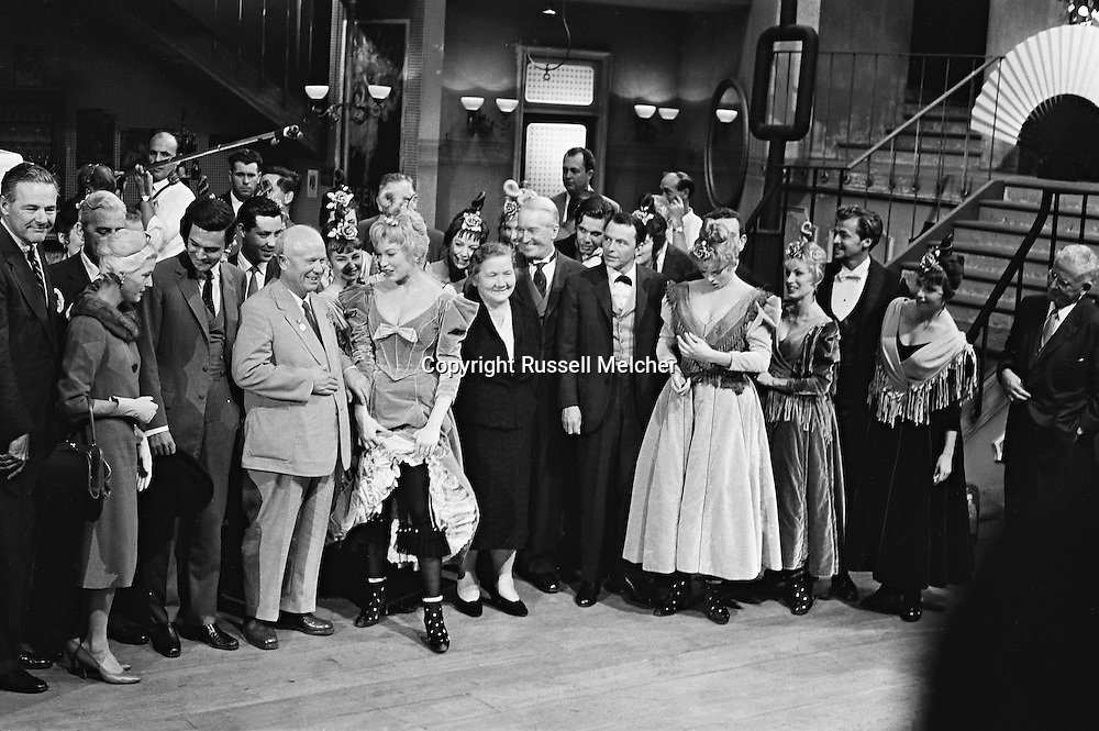 1959. From left to right: Mr Cabot Lodge, his wife, Louis Jordan, Nikita Khrushchev, Shirley MacLaine, Madame Khrushchev, Maurice Chevalier, Frank Sinatra and Juliet Prowse, on the set of Can Can.<br />