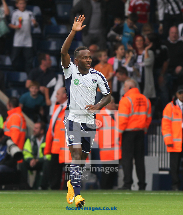 Saido Berahino of West Bromwich Albion celebrates scoring his sides third goal during the Barclays Premier League match at The Hawthorns, West Bromwich<br /> Picture by Tom Smith/Focus Images Ltd 07545141164<br /> 28/09/2014