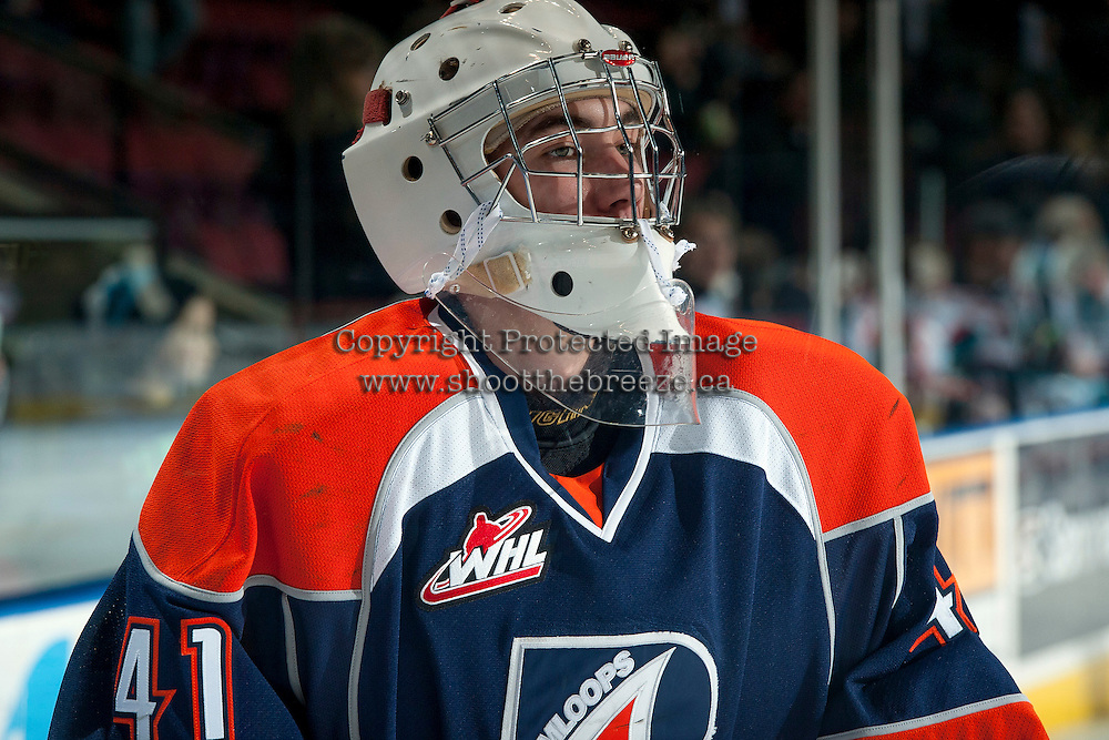 KELOWNA, CANADA -FEBRUARY 1: Cole Kehler G #41 of the Kamloops Blazers skates during warm up against the Kelowna Rockets on February 1, 2014 at Prospera Place in Kelowna, British Columbia, Canada.   (Photo by Marissa Baecker/Getty Images)  *** Local Caption *** Cole Kehler;