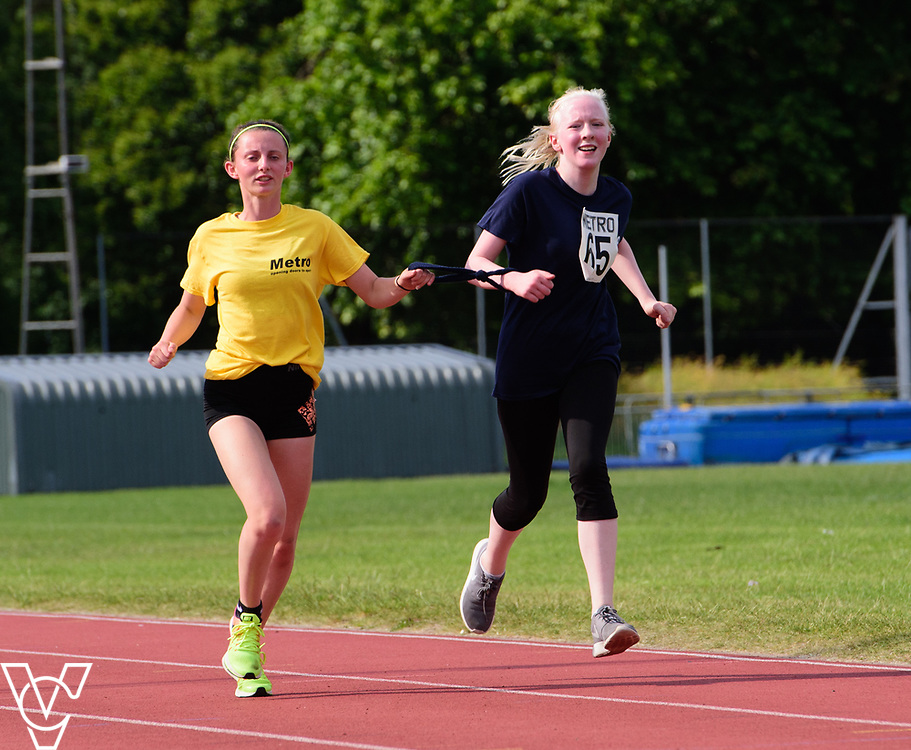 Metro Blind Sport's 2017 Athletics Open held at Mile End Stadium.  5000m.  Emma Quigley with guide runner<br /> <br /> Picture: Chris Vaughan Photography for Metro Blind Sport<br /> Date: June 17, 2017