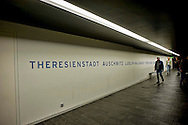 "Berlin 14th September 2013 <br /> The Jewish Museu<br /> One of the tunnels or ""axes"" that zig-zag within the Judisches Museum."