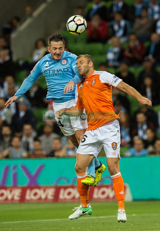October 6, 2017 - Melbourne, Victoria, Australia - Melbourne, Victoria, Australia - Ross McCormack (#44) of Melbourne City and Avram Papadopoulos (#6) of Brisbane Roar in action during the round 1 match between Melbourne City and Brisbane Roar at AAMI Park in Melbourne, Australia during the 2017/2018 Australian A-League season. (Credit Image: © Theo Karanikos via ZUMA Wire)