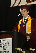 Colton Conover speaks during the Lebanon High School graduation at the Nutter Center in Fairborn, Saturday, May 28, 2011.
