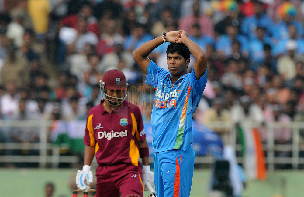 Umesh Yadav of India appeals unsuccessfully for the wicket of Lendl Simmons of West Indies during the 2nd ODI ( One Day International ) match between India and The West Indies held at The Dr Y.S.Rajasekhara Reddy ACA-VDCA Stadium, India on the 2nd December 2011..Photo by Pal Pillai/BCCI/SPORTZPICS