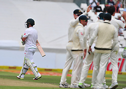 Cape Town-180324 Proteas  Dean Elgar was the first to go in the second innings when cought on slipper against  Australian  in the 3rd test of the Sunfoil cricket test at Newlands cricket stadium. .Photograph:Phando Jikelo/African News Agency/ANA