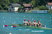 Aiguebelette, FRANCE. USA M4- off the start for their Friday Morning Time Trial at the Friday Morning Time Trials at the 2014 FISA World Cup II, 12:15:40  Friday  20/06/2014. [Mandatory Credit; Peter Spurrier/Intersport-images]