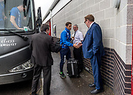 Michael Brown manager of Port Vale is greeted by new Chairman Tony Fradley of Port Vale (right) during the Sky Bet League 2 match at  Checkatrade.com Stadium, Crawley<br /> Picture by Liam McAvoy/Focus Images Ltd 07413 543156<br /> 05/08/2017