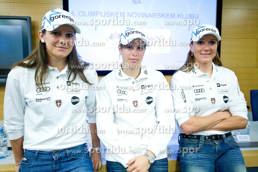 Slovenian Cross-country skiers Katja Visnar,  Vesna Fabjan and Petra Majdic at the 4th OKS press club with Slovenian nordic Olympic Candidates for Vancouver 2010,  on October 08, 2009, in Telekom Slovenija, Ljubljana, Slovenia.   (Photo by Vid Ponikvar / Sportida)