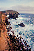 The cliffs and sea at Lands End, Cornwall, England
