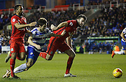 Reading midfielder, Lucas Piazon goes down in the box, but the Ref gives a goal kick during the Sky Bet Championship match between Reading and Blackburn Rovers at the Madejski Stadium, Reading, England on 20 December 2015. Photo by Andy Walter.