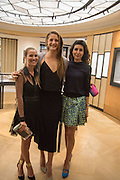 COSIMA VESEY; ANNA DE PAHLEN; NOOR BIN LADEN, preview of 'UNBRIDLED SYNCHRONY', an exhibition of works by photographer Astrid Muñoz. Jaeger-LeCoultre Boutique<br /> 13 Old Bond Street. London. 13 July 2015