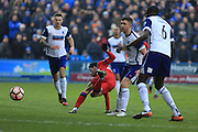 Ian Henderson is fouled during the The FA Cup 3rd round match between Barrow and Rochdale at Holker Street, Barrow, United Kingdom on 7 January 2017. Photo by Daniel Youngs.
