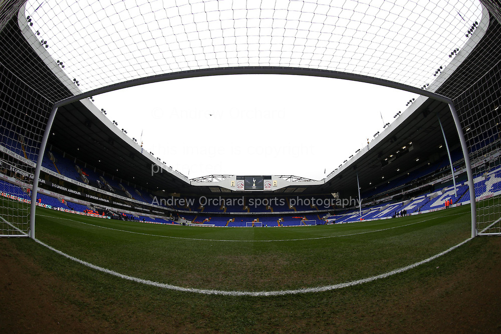 a General view of inside the goal mouth at White Hart Lane Stadium before k/o. Barclays Premier league match, Tottenham Hotspur v Newcastle Utd at White Hart Lane in London on Sunday 13th December 2015.<br /> pic by John Patrick Fletcher, Andrew Orchard sports photography.