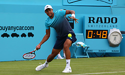 June 18, 2018 - London, England, United Kingdom - Jay Clarke (GBR) in action .during Fever-Tree Championships 1st Round match between Sam Querrey (USA) against Jay Clarke (GBR) at The Queen's Club, London, on 18 June 2018  (Credit Image: © Kieran Galvin/NurPhoto via ZUMA Press)