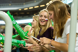 Supporters of Slovenia during friendly volleyball match between national teams of Slovenia and Brasil in Arena Stozice on 9. September 2015 in , Ljubljana, Slovenia. Photo by Grega Valancic / Sportida