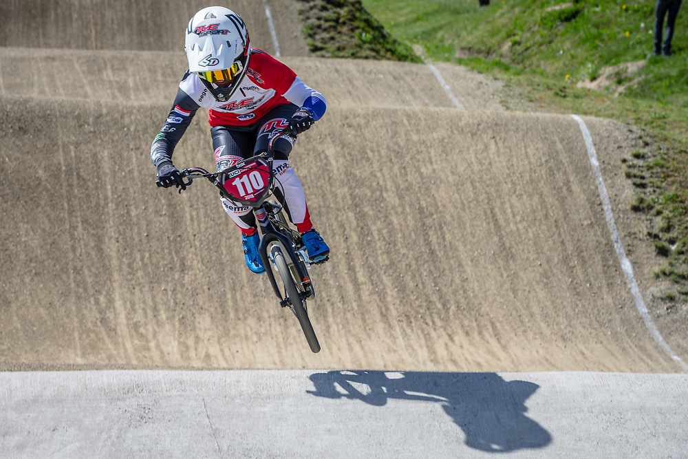 #110 (SMULDERS Laura) NED during practice of Round 3 at the 2018 UCI BMX Superscross World Cup in Papendal, The Netherlands