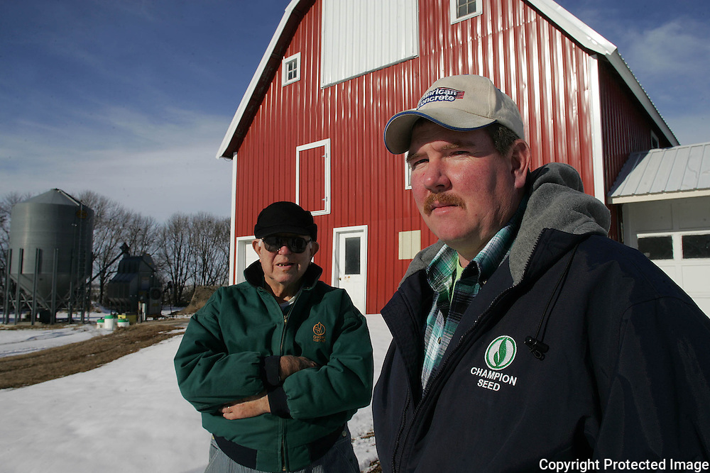 FARMERS - LAKOTA, JAN. 7 -- Farmer Ronald Ubben, right, has applied for a tax credit to rent 287 acres from his father, Harold Ubben, left.  The new program, Beginning Farmer Tax Credit, grants the tax credit to beginning farmers. Photo by David Peterson