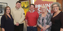 Maria Ruddy, Donal Fallon, Dairmuid Gavin, Ursula Skerritt and Lesley Emerson at the opening of Westport&rsquo;s Rolling Sun Book Festival festival over the weekend.<br />Pic Conor McKeown
