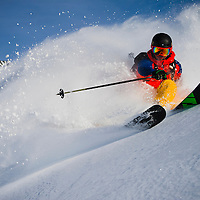 Per Jonsson comes close during the Voelkl shoot, Chamonix.