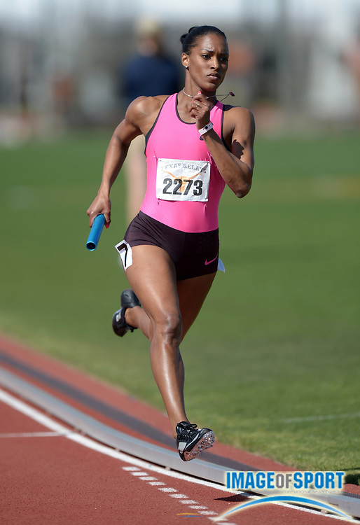 Mar 29, 2014; Austin, TX, USA; Tameka Jameson runs a leg on the womens 4 x 400m relay in the 87th Clyde Littlefield Texas Relays at Mike A. Myers Stadium.