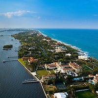 Aerial view of Palm Beach showing  mansions along the A1A waterfront.
