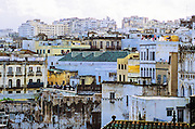 AFRICA, MOROCCO, TANGIER:  Rooftops of old Tangier with clotheslines as seen from the Hotel Continental.