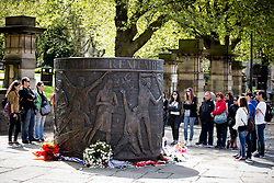 © Licensed to London News Pictures . 13/05/2016 . Liverpool , UK . A memorial to the victims of the Hillsborough Disaster , cast in bronze in the shape of a 7ft drum , at the bottom of St John's Gardens , near the corner of William Brown Street , in Liverpool City Centre . The monument was commissioned by the Hillsborough Justice Campaign and created by Liverpool sculptor Tom Murphy . Photo credit : Joel Goodman/LNP