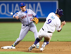 June 14, 2018 - Phoenix, AZ, U.S. - PHOENIX, AZ - JUNE 14: New York Mets second baseman Asdrubal Cabrera (13) turns the double play during the MLB baseball game between the Arizona Diamondbacks and the New York Mets on June 14, 2018 at Chase Field in Phoenix, AZ (Photo by Adam Bow/Icon Sportswire) (Credit Image: © Adam Bow/Icon SMI via ZUMA Press)
