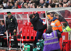 Chelsea manager Antonio Conte celebrates their second goal - Mandatory by-line: Jack Phillips/JMP - 18/03/2017 - FOOTBALL - Bet365 Stadium - Stoke-on-Trent, England - Stoke City v Chelsea - Premier League